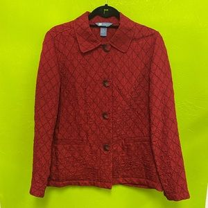 Koret Jacket Quilted Red Button Front Pockets M